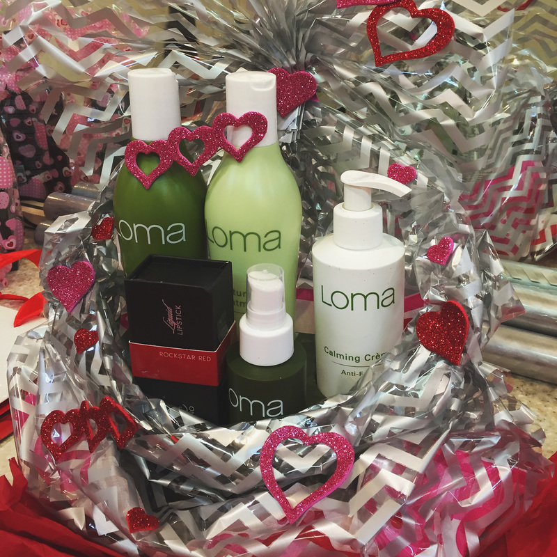 Gift package for valentines day at Mehron Hair Salon in Nanaimo - Loma 100% organic shampoo conditioner and calming anti-frizz cream.